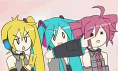 Neru is texting Miku is pointing in different directions and Teto is blabbing