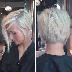 Blonde Asymmetrical Pixie Cut