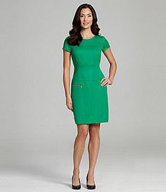 Tahari ShortSleeve Jacquard Dress