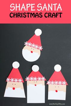 Shape Santa craft for kids to make this Christmas. Review shapes : circle, square, rectangle and trapezoid. Great winter craft for preschool, kindergartners and older kids| at Non-Toy Gifts #christmastcraft #Santacraft #Santacraftsforkids