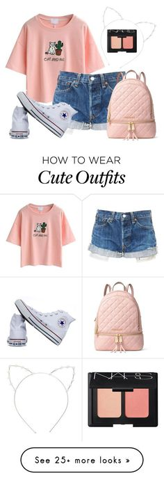 """Cute Cat Outfit"" by ameliesarah on Polyvore featuring WithChic, Converse, MICHAEL Michael Kors, Cara and NARS Cosmetics"