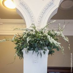 Cascading garland over the church pillar Church Wedding Flowers, Aisle Flowers, Flower Garlands, Looking Stunning, Flower Designs, Big Day, Planter Pots, Carving, Wreaths