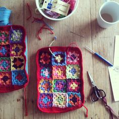 wild plum hill: Granny Square Hot Water Bottle Cover