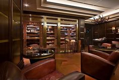Large walk-in humidor. That would be so cool integrated into the games room. Düsseldorf, Capella Bar & Cigar Lounge.