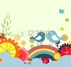 5157140-vector-illustration-of-retro-flowery-design-greeting-card-with-two-of-retro-style-birds.jpg (400×380)