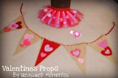 Craft Banner and Valentines Tu-Tu with matching fabric hair flower