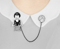 Collar clips // Flapper knitting a scarf by flapperdoodle on Etsy https://www.etsy.com/listing/201421078/collar-clips-flapper-knitting-a-scarf