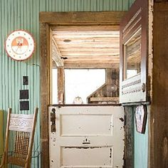 Vintage Country Door - great idea for a kitchen door leading to the porch outside!