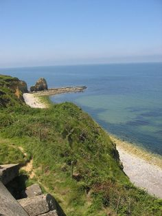 Point du Hoc....Normandy, France  Perspective from the cliff tops of what US Rangers had to climb up on D-Day.