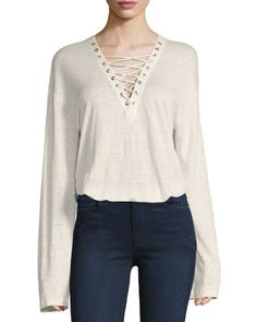 Alety+Lace-Up+Long-Sleeve+Top,+Ivory+by+Iro+at+Neiman+Marcus.
