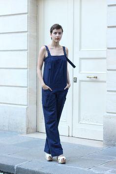 #jumpsuit #APC #blue #beauty #fashion #mode #moda #women #paris #look #streetstyle #streetview #street #style #offcatwalk on #sophiemhabille