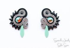 Soutache Bracelet, Soutache Jewelry, Strand Bracelet, Beaded Earrings, Black Jewelry, Diy Jewelry, Jewelry Making, Unique Jewelry, Soutache Tutorial