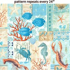 PURCHASE FROM FABRIC.COM . . . DC5983 by the sea collage ocean water shells rope aqua turq marine life sea life underwater nautical patchwork seahorse crabs lobsters fish aquatic