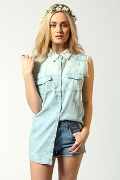 Anthea Denim Shirt With Floral Lace Collar Denim And Lace, Blue Denim, Double Denim, Casual Tops For Women, Lace Collar, Online Shopping Clothes, Denim Shirt, Floral Lace, Girl Fashion