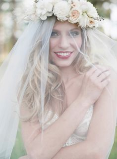 Veil + Floral Crown? Is it Possible? :  wedding bridal flower crown veil Flower Crown