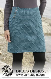 Crocheted skirt with spiral pattern, worked top down. Size: S - XXXL. ~ DROPS Design