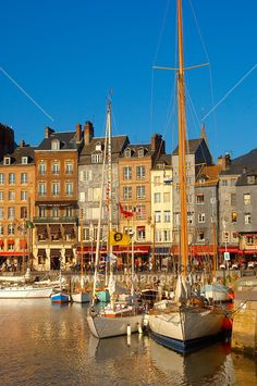 Honfleur Harbour with art galleries, restaurants and yachts - Normandy, France