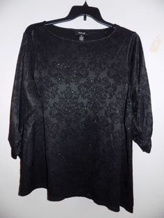 3X Womens Three-Quarter Sleeve Style & Co. Black Plus size flocking NWT #Styleco #Blouse