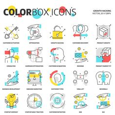 Colorbox icons, growth hacking by howcolour on @creativemarket