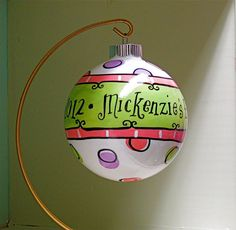 Hand Painted Ornament - Baby Girl's First Christmas - CUSTOMIZE. $35.00, via Etsy.