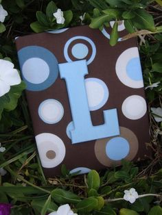 Boy Nursery Letters Blue and Brown Boy Nursery Decor, Wall Letters, Chocolate Brown and Baby Blue Nursery, Polka Dot Nursery, Painted Letters, Wood Letters
