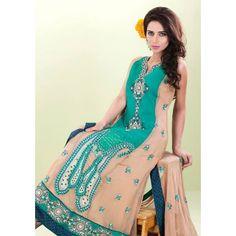 Sea Green/Peach A-Line Ankle Length Crinkle Chiffon DressContact: (702) 751-3523  Email: info@pakrobe.com  Skype: PakRobe