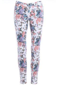 ROMWE   Floral Print Skinny Pants, The Latest Street Fashion #Romwe