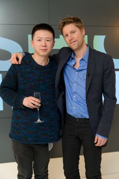 Haizhen Wang with Christopher Bailey Christopher Bailey, Chef Jackets, Suits, Fashion, Moda, Fashion Styles, Suit, Wedding Suits, Fashion Illustrations