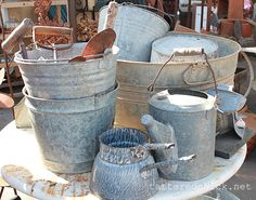 Galvanized buckets, watering can etc.