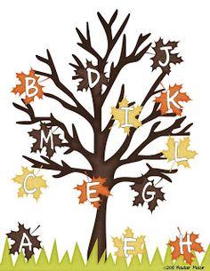 #Fall Leaves Letter Match #alphabet #preschool #kindergarten
