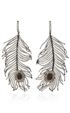 Diamond Feather Earrings by Niko Koulis