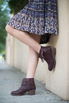 Printed boho dress from TjMaxx and affordable stylish fringe leather booties