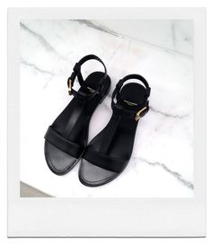 Saint Laurent - t-strap black sandals Cute Shoes, Me Too Shoes, Black Sandals, Shoes Sandals, Strap Sandals, Pretty Sandals, Leather Sandals, Black Shoes, Simple Sandals