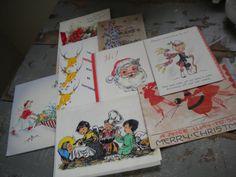 Lot of 8 Vintage Christmas Cards / 8 1936 by JMFindsandDesigns