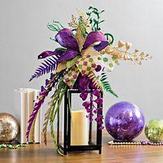 Floral Mardi Gras Decorative Lantern