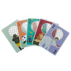 zoo playing cards - The Zoo Playing Cards by IDEA International are a deck of colorful PVC cards adorned with adorable animal characters and clear circular cut-outs. House Of Cards, Deck Of Cards, Zoo Animals, Cute Animals, Free Online Shopping, My Sister In Law, Peek A Boos, Card Games, Kids Toys