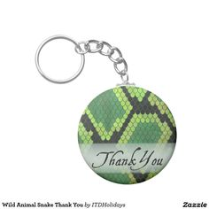 Wild Animal Snake Thank You Basic Round Button Keychain by ITD Holidays. Go wild and show your appreciate with a cool snakeskin pattern gift.