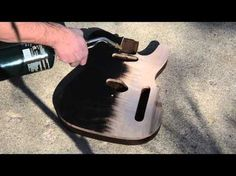 Charring a Guitar Top Flaming a Flame Maple Top Scorched Luthier Project - YouTube