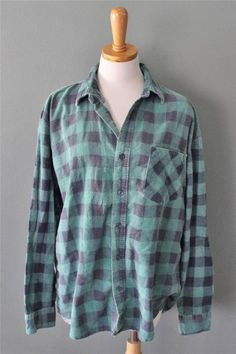 Vtg 80s Open Trails Flannel Buffalo Plaid Shirt Men xl cotton GRUNGE green F1 #OpenTrails #ButtonFront