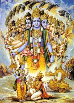 Lord Krisñ is showing the Universal form of The Lord Vishnu to Lord Arjun.