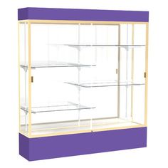 Waddell Spirit Series Lighted Floor Display Case Base Color: Purple, Frame Color: Champagne, Backing Material: Mirror