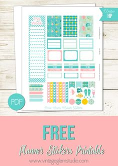 Ocean+Waves+Planner+Stickers+|+Free+printable+for+the+Classic+Happy+Planner
