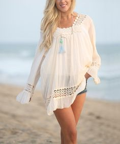 Loving this Ananda's Collection Ivory Cutout Lace Tunic on #zulily! #zulilyfinds