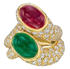 "Carvin French Pair of Gemstone Diamond Gold ""Nesting"" Rings"