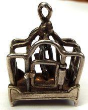 Vintage Silver Charm Opening Birdcage Bird Swings,,..