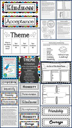 Teaching Theme in Literature Unit! Huge packet contains theme labels, Common… Reading Themes, Reading Resources, Reading Strategies, Writing Activities, Educational Activities, Reading Comprehension, Reading Lessons, Reading Skills, Teaching Reading