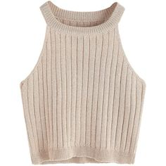 SweatyRocks Women's Knit Crop Top Ribbed Sleeveless Halter Neck Vest... ($9.99) ❤ liked on Polyvore featuring tops, sleeveless tank, halter tops, sleeveless crop top, sleeveless vest and ribbed tank