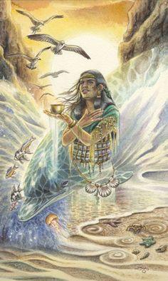 La reine de coupes (Mama Cocha) - Tarot animaux divins par Lisa Hunt