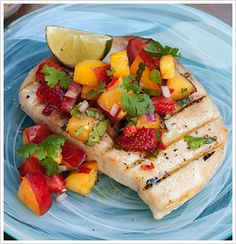 Grilled Fish* with Strawberry Nectarine Salsa. *The recipe calls for Hawaiian blue marlin but other fish can be substituted, such as swordfish.