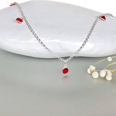 Shop unique handmade goods from OneYellowButterflyy. Silver Anklets, Ethical Fashion, Pearl Necklace, Charms, Artisan, Minimalist, Crystals, Red, Handmade